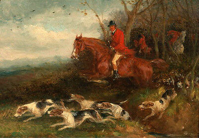 Oil painting horseman count hunter riding red horse & Hounds dogs Hand painted