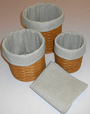 Canister Liners Fit Longaberger, Set of 4, Sage Check (Basket not Included)