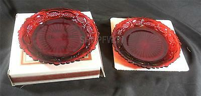 Set of 2 Avon 1876 Cape Cod Ruby Red Glass Dessert Plates 1980 New Old Stock