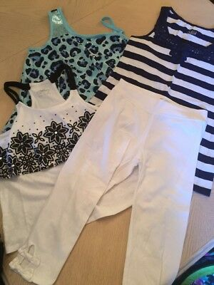 Girls Justice White Leggings Blue Leopard Dressy Tank Tops Striped Set Lot 14 16