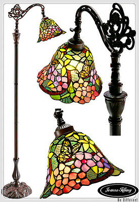 Amazing Butterfly Tiffany Style Leadlight  Bridge Arm Floor Lamp