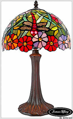 "Elegant 12"" Traditional Dragonfly Style Stained Glass Tiffany Bedside Lamp"