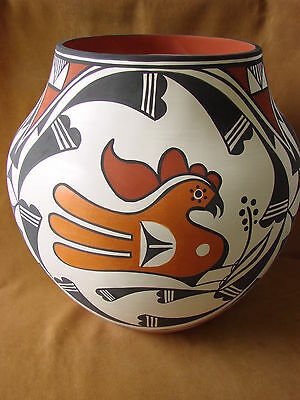 Large Native American Acoma Indian Pottery Hand Coiled & Painted Pot by David An