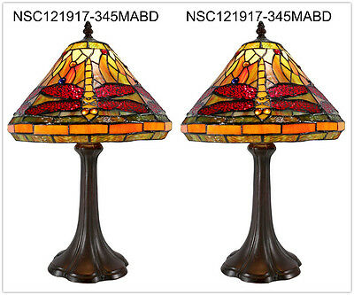 "Pair*Red 12"" Traditional Dragonfly Style Stained Glass Tiffany Bedside Lamp"