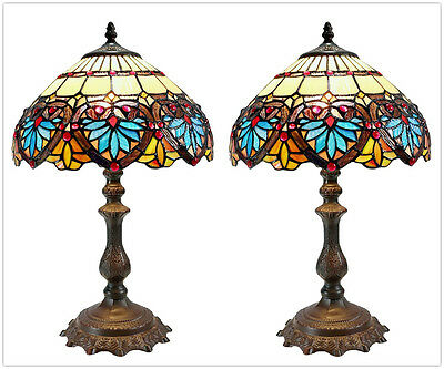 Pair*12'' Stunning Boheme Tiffany Leadlight Stained Glass Bedside Lamp