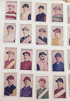 36 cigarette cards of JOCKEYS from 1908 by Sniders & Abrahams STANDARD.