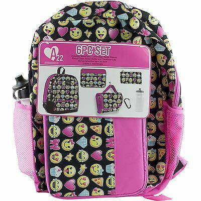 Emoji Fashion School Backpack Book Bag Lunch Tote Pencil Case Water Bottle Clip