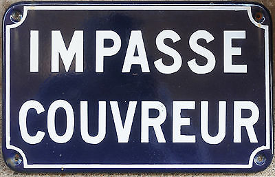 Old French enamel street sign plate road name plaque Impasse Couvreur Roofer