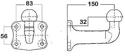 Westfalia Mounting Plate, Towing Hitch Load Capacity 2,3 T - 329089600001