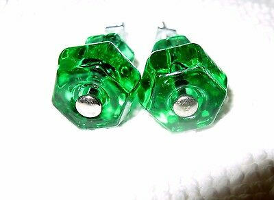 2 Vintage Emerald Green Glass Draw/Cabinet Pulls Knobs