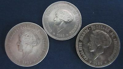 Luxemburg Silber 5 Francs + 2 x 10 Francs 1929 in ss  (L9)