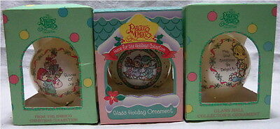 "Three Different 1994 Precious Moments 3"" Ball Christmas Ornaments"