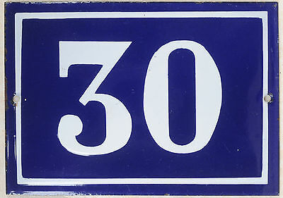 Large old blue French house number 30 door gate plate plaque enamel metal sign