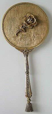 Antique/Vintage UNUSUAL Brass Hand Mirror Ornate Handle and Rim Rose on Back
