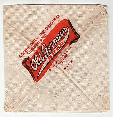 Vintage Paper Napkin Advertising Old German Beer Queen City Brewing Company MD