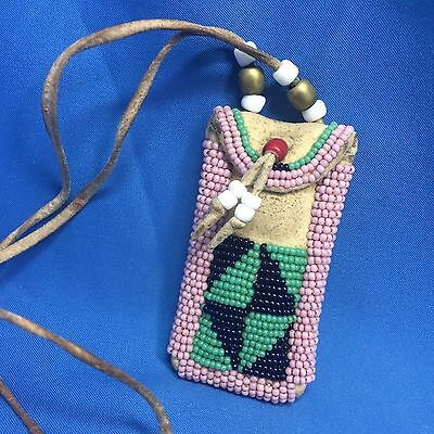 Vintage Original NATIVE AMERICAN Leather BEADED MEDICINE BAG Necklace
