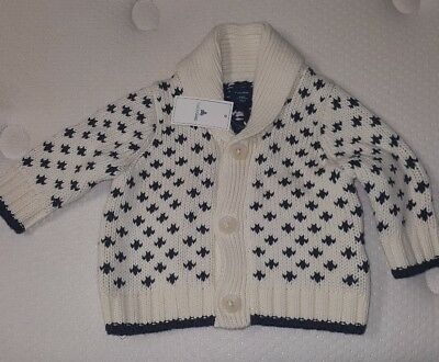 NWT $40 Baby GAP Button Front Cable Knit Sweater Jacket Dressy Boys 0-3 Months
