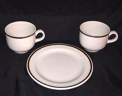 Vtg Royal Doulton STEELITE Ware England  2 CUPS 1 SAUCER Set Of 3 Brown Rim