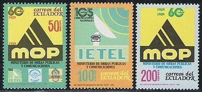 Ecuador 1183/85 1989 60Aniv. Ministry Work communications and public MNH