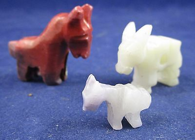 Lot of 3 Vintage Miniature Carved Stone Donkey Figurines - Mexico - Age Unknown