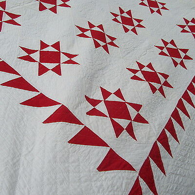 OUTSTANDING! 1880's RED Antique Ohio Star QUILT Americana SAWTOOTH BORDER