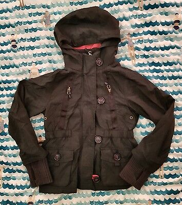 NEXT Girls Navy Hooded Lined Pockets Button Cuff Jacket size 7yrs Superdry style