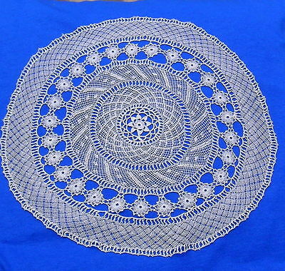 """Antique  Armenian Needle Knotted Lace Doily  13"""""""