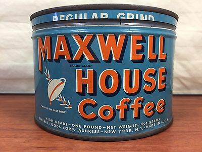 Vintage 1940's Maxwell House Coffee Advertising Tin Can
