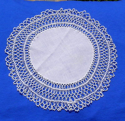 """2 Rare Vintage Tatting Tatted Hairpin  Lace Doily  12"""" diameter"""
