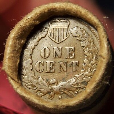 S Tail Indian/1906 Red Indian End Mixed Old Estate Roll Wheat/indian Cents #1505