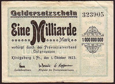 Germany/East Prussia/Russia  Konigsberg / Kaliningrad  1 Milliarde Mark 1923
