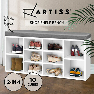 Wooden Shoe Rack Organiser Cabinet Storage Box Shelf Fabric Bench Stool 10 Pairs