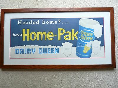 Vintage Dairy Queen Home Pak Advertising Ice Cream Display Sign 1956 Framed USA