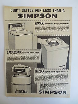 Vintage advertising original 1960s Australian ad SIMPSON WASHING MACHINES