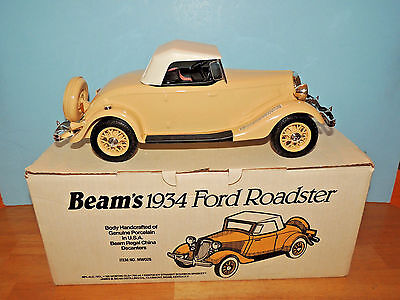Jim Beam Decanter 1934 Ford Roadster Cream And White w/ Box & Inserts