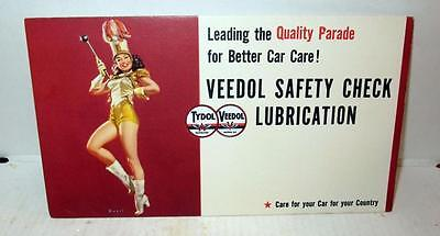 1940S Majorette Girl Pinup Veedol Safety Check Lubrication Card