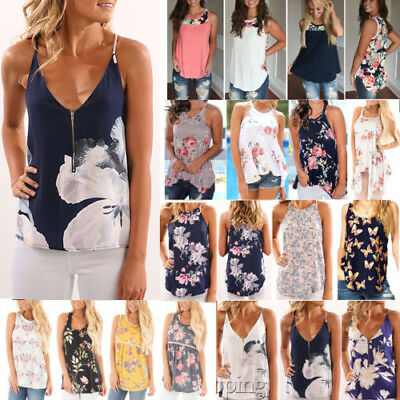 Floral Women Summer Vest Top Sleeveless Shirt Blouse Casual Tank Tops T-Shirt