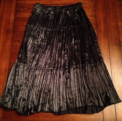 Square Dance Skirt Long Black Full 100% Polyester Satin-feel 3 Tiers Sew & Saw