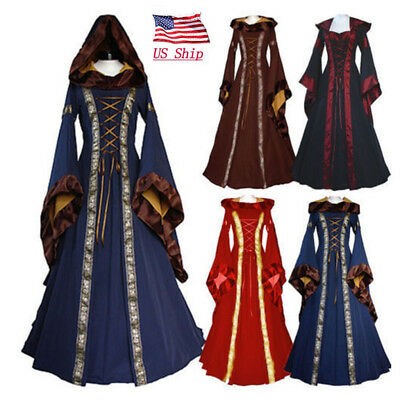 Game Of Thrones Gothic Dress Women's Medieval Renaissance Vintage Hooded Costume
