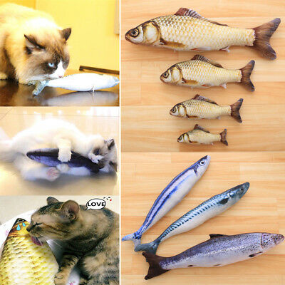 Jumbo Stuffed Fish Mint Catnip Pillow Puppy Interactive Chewing Play Fancy Toy
