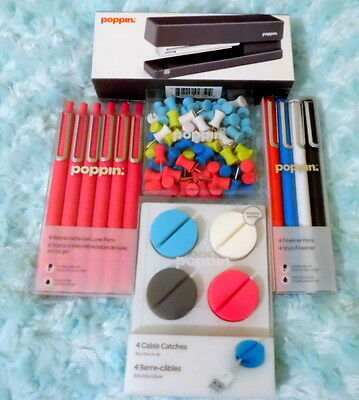 New Lot Of Poppin Pens Cable Catches, Stapler & More Nice Lot