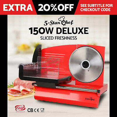 BRAND NEW Electric Meat Slicer Cheese Processor Bread Blade Ham Deli Fruit RED