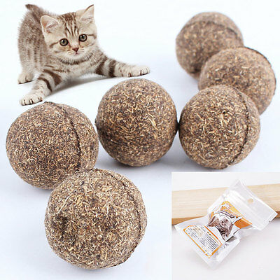2Pcs Pet Cat Aid digestion Health Vitamins Teeth clean Catnip Mint Ball Toys 20g