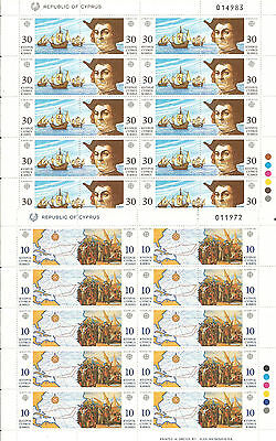 CHIPRE Cyprus EUROPA cept 1992 ** MNH Sheets Descubrimiento  America Columbus