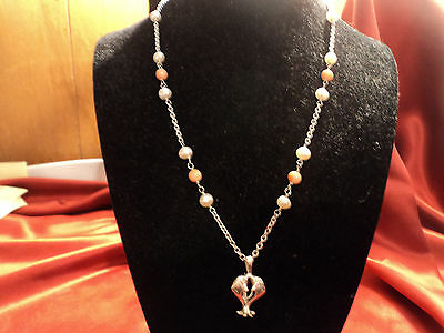 Vintage Sterling Coral Pearl necklace & Dolphin Pendent Hawaii 1970,s