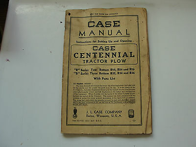 J.j.case Centennial Tractor Plow,case Manual,racine Wis,antique Book