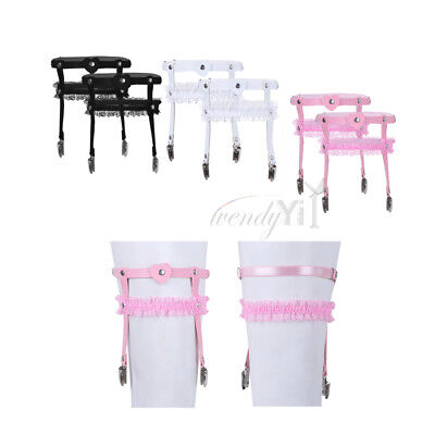PU Leather Elastic Suspender Heart Ring Punk Lace Garter Belt w Duck-Mouth Clip