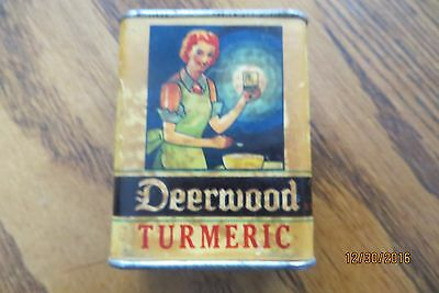 1934 Deerwood Turmeric paper label spice tin United Buyers Corp advertising tin