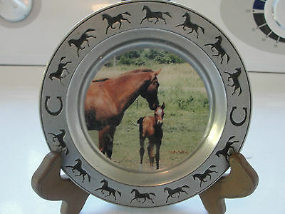 Decorative horse plate, horse with foal, pewter, Steffen Studio