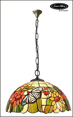 """Huge 18"""" Sunflower Butterfly Accent Style Stained Glass Tiffany Pendant Lamp"""